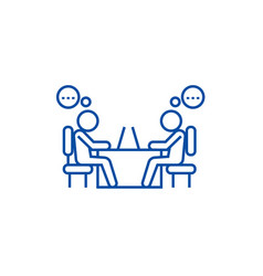 Office coworkers line icon concept office vector