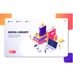 Online library isometric concept people in vector