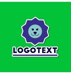 Paper sticker on stylish background lion logo vector