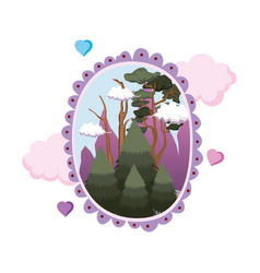 pines forest landscape in circular frame vector image