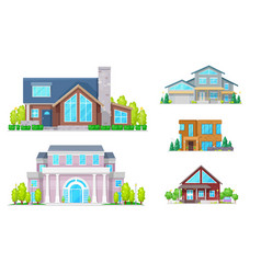 real estate house building and home icons vector image