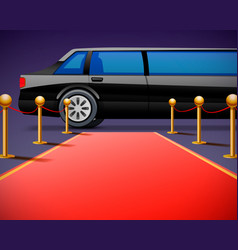 Red event carpet isolated on a black background vector