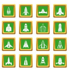 rocket icons set green vector image