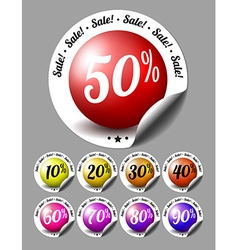 Sale stickers with percents vector