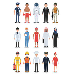 set diverse occupation and profession people vector image