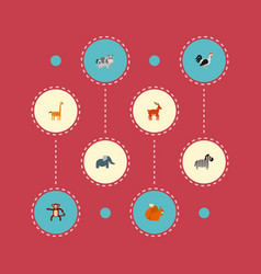 set of zoo icons flat style symbols with cow deer vector image