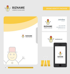 snowman business logo file cover visiting card vector image