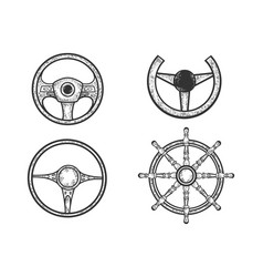 steering wheel set sketch vector image