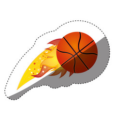 sticker colorful olympic flame with basketball vector image vector image