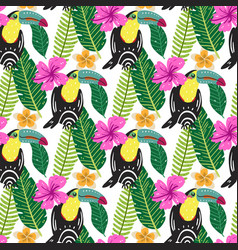 Summer tropical seamless pattern vector