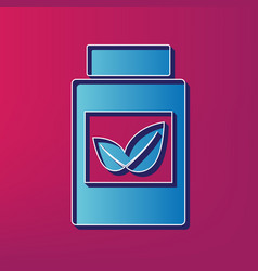 supplements container sign blue 3d vector image