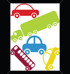 Traffic jam in a rectangular frame vector