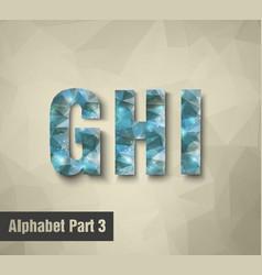 Triangular blue alphabet G H I vector