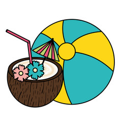 tropical coconut cocktail with balloon toy vector image