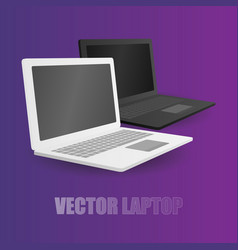 Two leptop white and black at violet background vector