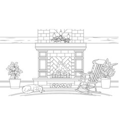 vintage fireplace with vector image