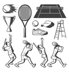 vintage tennis elements collection vector image