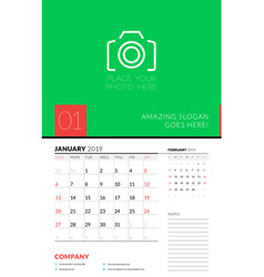 wall calendar planner template for january 2019 vector image