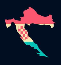 waving fabric flag map of croatia vector image