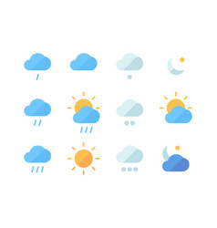 weather icon set climatic changes in world heavy vector image