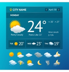 Weather widget for smartphone vector
