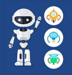 White cyborg with raising hand poster vector