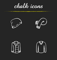 Winter clothes chalk icons set vector