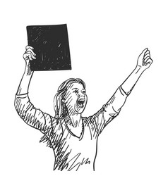 woman with black square banner is screaming vector image