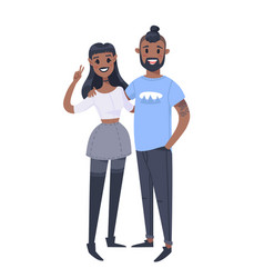 Young couple hand drawn black woman and man flat vector