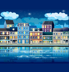 Old Town at night vector image vector image