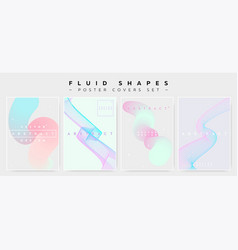 pastel covers set with abstract fluid waves vector image