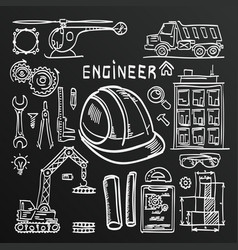 chalkboard sketch icons engineer drawing style set vector image vector image