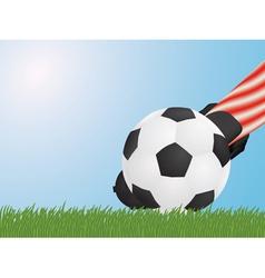foot hitting ball vector image vector image