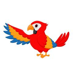 macaw bird cartoon waving vector image