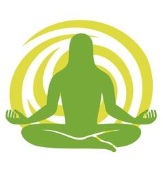 Man figure meditating symbol vector