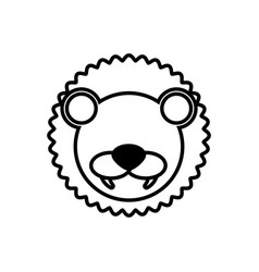 outline lion head animal vector image vector image