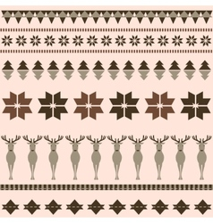 Brown winter ornamental pattern with deer vector image vector image