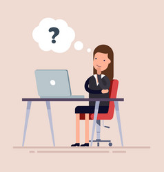 businesswoman or an employee sitting with laptop vector image vector image