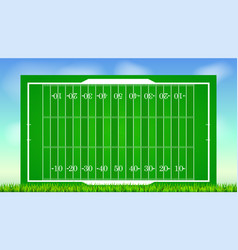 Football field with grass on blue backdrop of sky vector