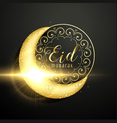 golden moon with floral decoration for eid vector image