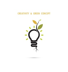 Plant growing inside the light bulb logo vector image vector image