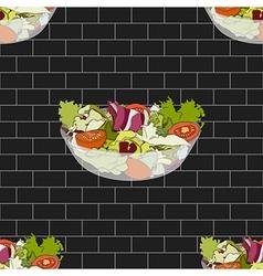 Salad Bowl on Dark Gray Brick Wall vector image vector image