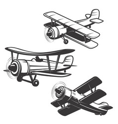 set of airplane icons isolated on white vector image vector image