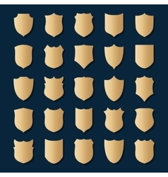Set of gold shields on blue background vector image vector image