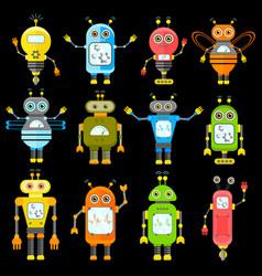 set of robots in cartoon style vector image