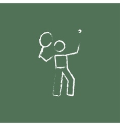 Tennis player icon drawn in chalk vector image