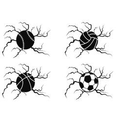 balls cracking icons set vector image vector image