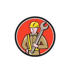 Construction Worker Spanner Circle Cartoon vector image vector image