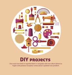 creative art of diy projects poster for kid vector image