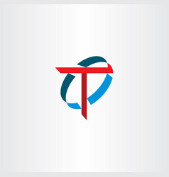 letter t sign logo symbol red blue icon vector image vector image